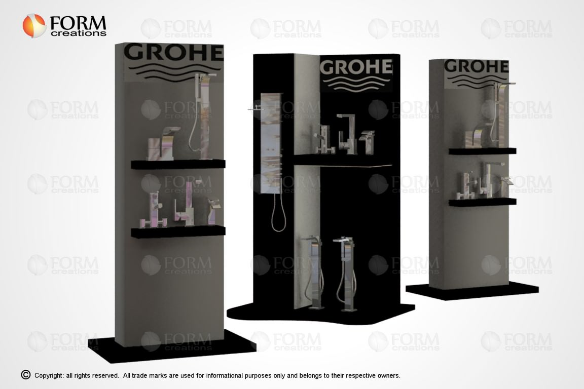 Exhibition Stand Fittings : Promotional display racks and shelving formcreations