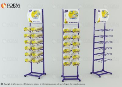 Display stands with wire hooks Metal rack with handles for cans (15010)