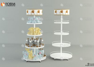 Promotional stand with round wood shelves (15014)